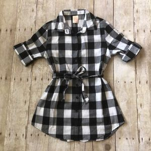 Girls buffalo plaid tunic dress size M(7-8)
